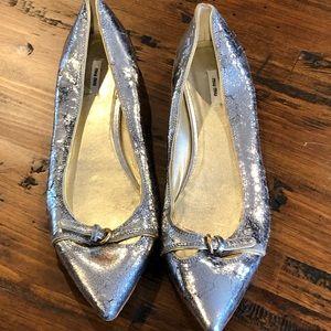 Miu Miu Silver distressed leather Flats sz 37